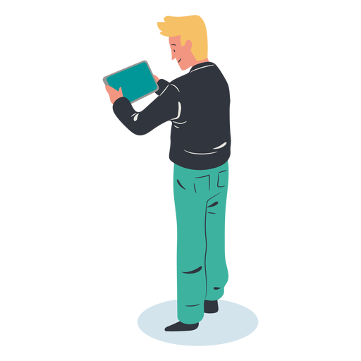 Blonde guy tablet character isometric Transparent PNG