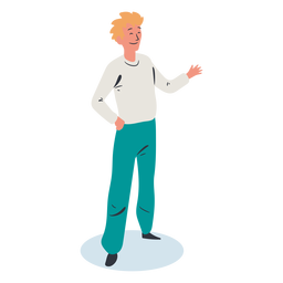 Blonde man greeting character isometric