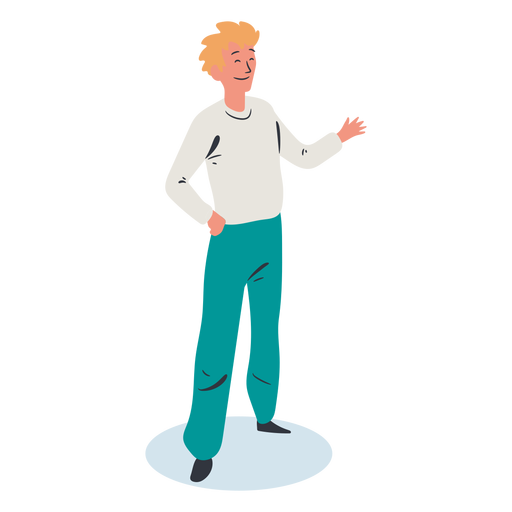 Blonde man greeting character isometric Transparent PNG