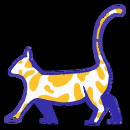 Dibujado a mano gato azul y amarillo