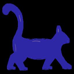 Gato azul caminando dibujado a mano