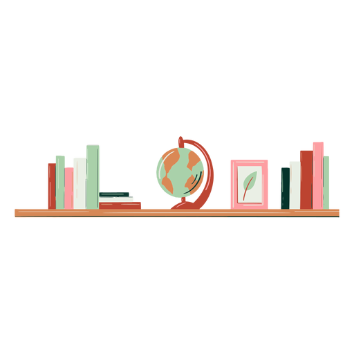 Bookcase globe hand drawn Transparent PNG