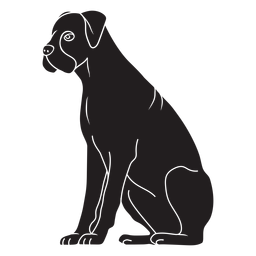 Boxer dog sitting black