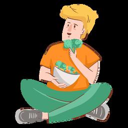 Junge, der Charakter isst