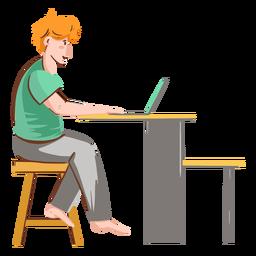 Chico con personaje de computadora
