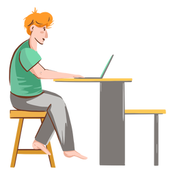Rapaz com caráter de computador