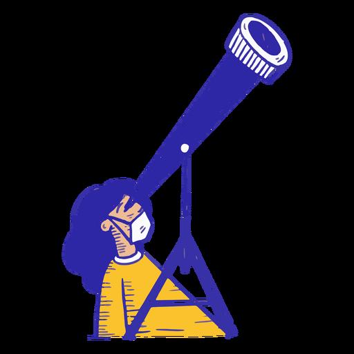 Covid19 girl telescope hand drawn