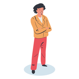 Crossed arms guy character isometric