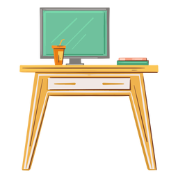 Desk computer flat