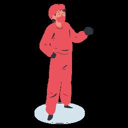 Personagem de saudação médico isométrica