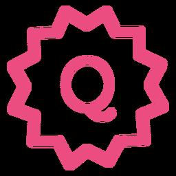 Comercio electrónico q icono trazo rosa