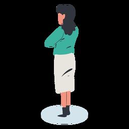 Girl backwards character isometric