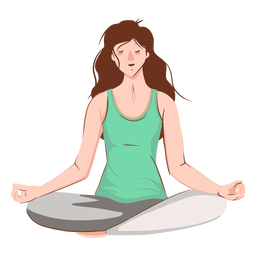 Personagem meditando menina