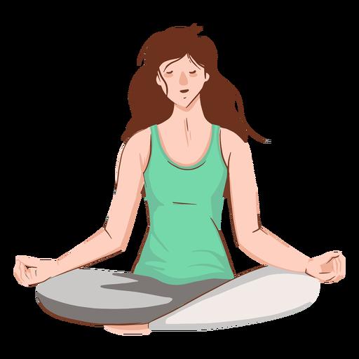 Chica meditando personaje Transparent PNG