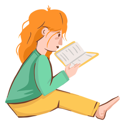 Girl reading book character