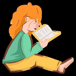 Menina lendo o personagem do livro