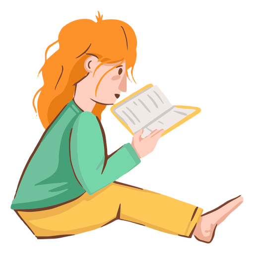 Girl reading book character Transparent PNG