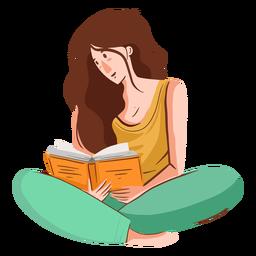 Personagem de leitura de menina