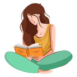 Personaje de lectura de niña