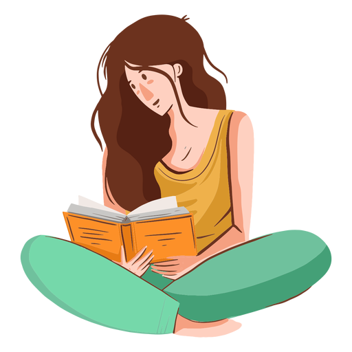 Girl reading character Transparent PNG