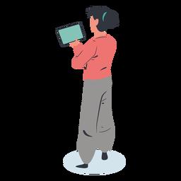 Chica tableta personaje isométrico