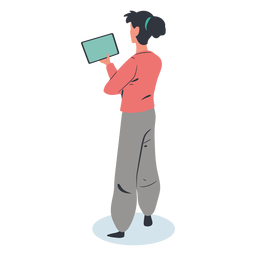 Personagem de tablet menina isométrica