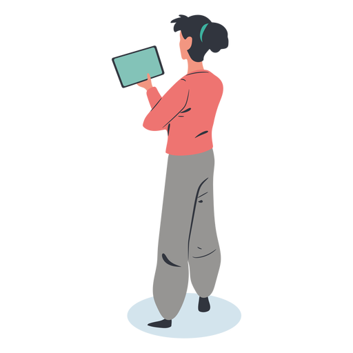 Girl tablet character isometric Transparent PNG