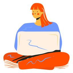 Girl with computer character