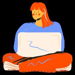 Niña con personaje de computadora