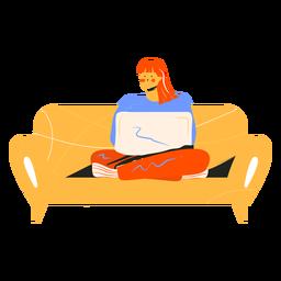 Garota com personagem no sofá do computador