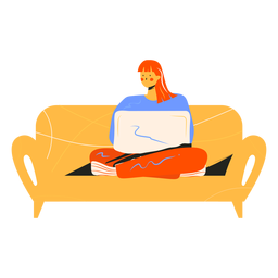 Menina com caráter de sofá de computador