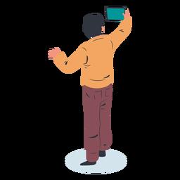 Guy backwards tablet character isometric
