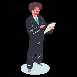 Personaje de tableta chico isométrico