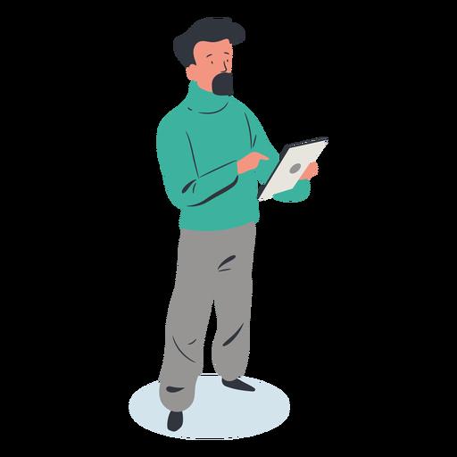 Chico con personaje de tableta isométrica Transparent PNG