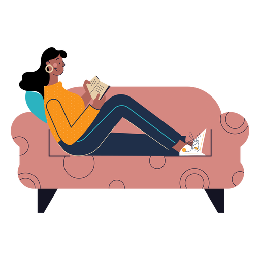 Happy woman reading character