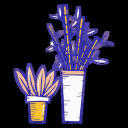Dibujado a mano plantas de interior