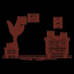 Wohnzimmerrahmen handgezeichnet