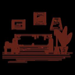 Dibujado a mano sala de estar