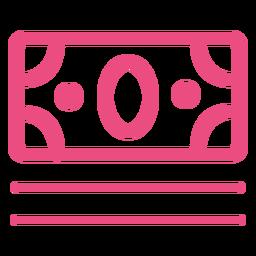 Ícone de conta de dinheiro traço rosa