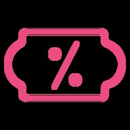 Icono de descuento en línea trazo rosa
