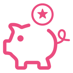 Piggy bank icon stroke pink