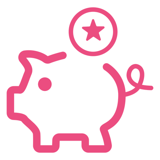 Piggy bank icon stroke pink Transparent PNG