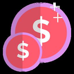 Icono de monedas rosadas