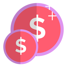 Pink coins icon