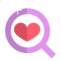 Pink magnifying glass icon