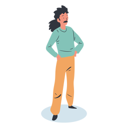 Ponytail guy character isometric