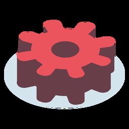 Engranaje rojo isométrico
