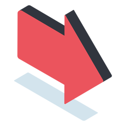 Red pointing arrow isometric