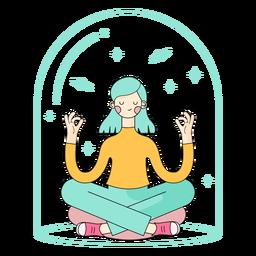 Personaje meditando chica relajada