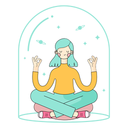 Relaxed girl meditating character